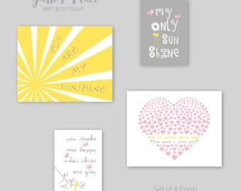 You Are My Sunshine, Baby Girl Nursery Decor, Girl Wall Art, Girls decor, girl print, Pink, Gray and Yellow Print Set, Girl Gift,YassisPlace