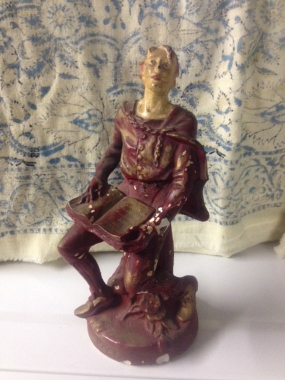 Vintage Male Poet Statue Plaster Chalkware Shakespearean Style