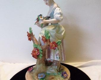 Carl Thieme Potschappel Dresden Woman Flowers Figurine Porcelain Germany Antique