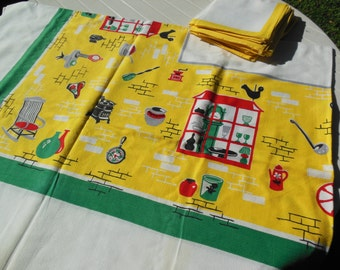 Kitchen Themed Print Tablecloth & 12 Napkins, Large Size Tablecloth