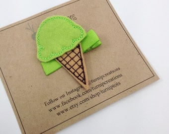 Lime Ice Cream Hair Clip Ice Cream Cone Green Felt Hair Clip Girls Hair Clip Feltie Hairclip Hair accessory