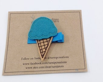Blue Ice Cream Hair Clip Ice Cream Cone  Felt Hair Clip Girls Hair Clip Feltie Hairclip Hair accessory