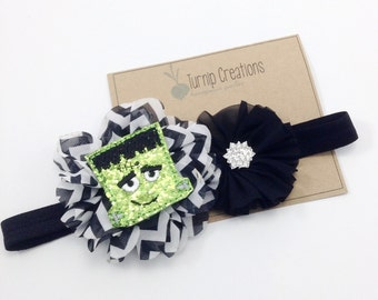 Halloween Headband Frankenstein Headband Black Chevron Headband  Green Monster Headband Photo Prop Ballerina Flower Photo Prop Headband