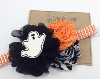 Halloween Headband Ghost Headband Black & Orange Chevron Headband Photo Prop Ballerina Flower Photo Prop Girls Headband Polka Dot
