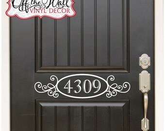 House Numbers Front Door Vinyl Lettering Decal Sticker   #D01