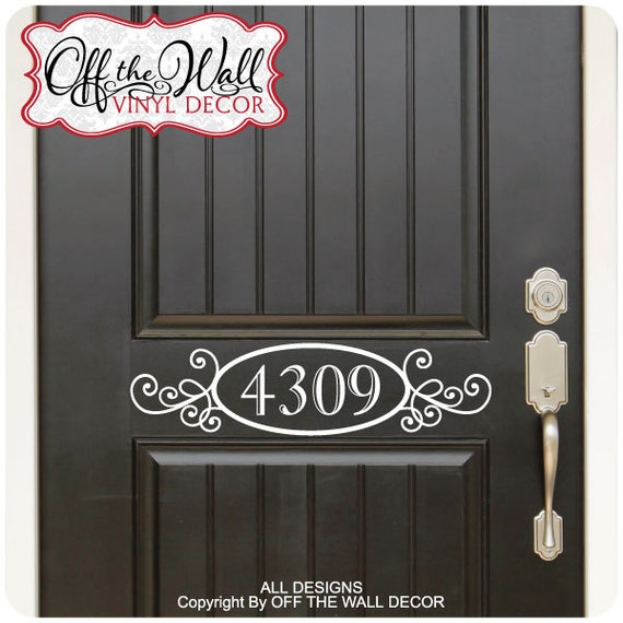 House numbers front door vinyl lettering decal sticker d01 for Window cling letters and numbers