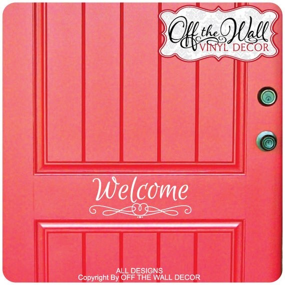 Welcome front door vinyl lettering decal sticker d18 for Door vinyl design