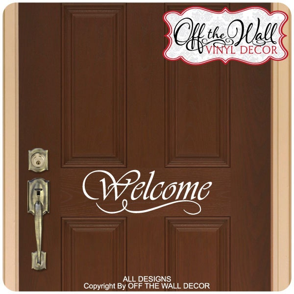 Welcome front door vinyl lettering decal sticker design2 for Door vinyl design
