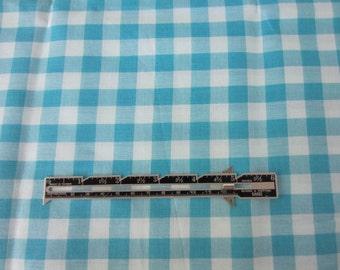 Vintage gingham check fabric. Turquiose and aqua check fabric. NOS
