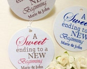50 Personalized Printed WEDDING FAVOR Tags Sweet Beginning Treat