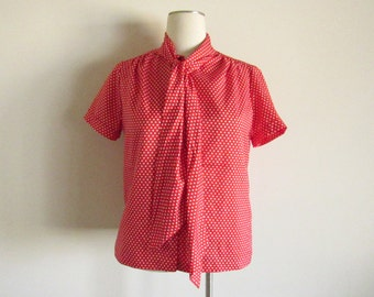 Red & White Polka Dot Bow-tie Blouse by Lee Mar of CA- size 16, XL