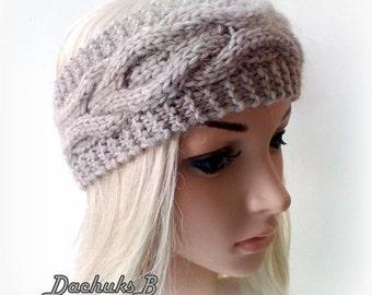 Beige Knitted Headband,  Headwrap, Earwarmer Cable Pattern Fall, Autumn,Winter Accessorie