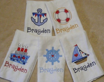 Personalized Nautical Burp Cloth SINGLES - set 2