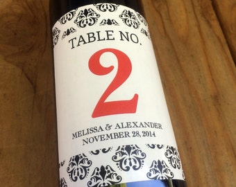 Wine Label Table Numbers, Wine Labels, Wedding Wine Label, Custom, Personalized, Favors, Decoration, Bridal Shower, Sticker, Chevron, Damask