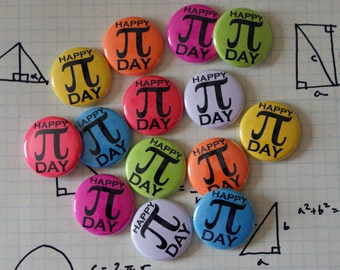 """Party Pack: 100 Pi Day Colorful Nerdy Geeky Math 1"""" Pinback Button"""