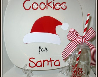 Personalized Christmas Santa Cookie Plate and Milk For Santa Glass Jar Cup Red White