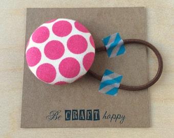 Button ponytail holder - Pink Polka Dot