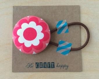 Button ponytail holder - Pink Flower