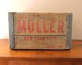 Vintage Muller New York City Deposit Wooden Crate, Rustic, Organization, Home Decor