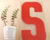 S is for Sam... Vintage Red Marquee Letter S, Wall Hanging