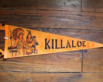 Oh Canada... Vintage Killaloe Canada Felt Pennant, Travel Pennant, Souvenir Pennant