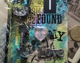 """Original Mixed Media Small Journal """"i Found My Love"""" [80 lined pages]"""