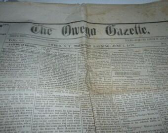 Owego New York 1876 Vintage Newspaper The Owego Gazette 6/1/1876