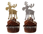 12 Moose Cupcake Toppers, Moose Hunters Party Decorations - No1121