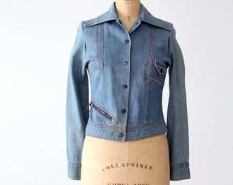 vintage 70s fitted denim jacket