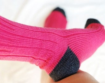Merino Wool Socks, Handmade, Knitted, Superwash, Hot Pink with Charcoal Heal and Tow