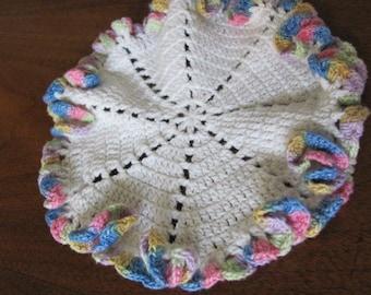 Vintage Handmade Multicolored Rosettes Crochet Swirl Cottage Chic Doilie - Home Decor - Granny Chic - Doily