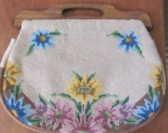 Vintage 1950's Boho Sunflower Floral Needlework Handbag with Wood Handles - Women - 50's Fashion - Style - Top Handle Purse