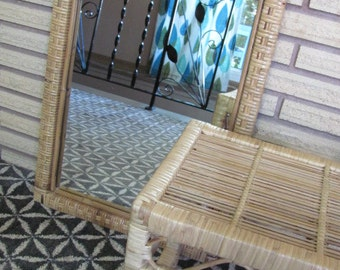 Vintage Natural Rattan Wicker Mirror and Woven Foot Stool Set - Home Decor - Bathroom - Bamboo - Vanity - Bedroom - Furniture