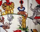 Vintage Barkcloth Fabric 60s Circus Animals Novelty Midcentury Nursery Kids Remnants Scraps