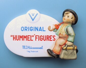 1947 Ceramic Advertising Plaque for Hummel Figurines / The Merry Wanderer