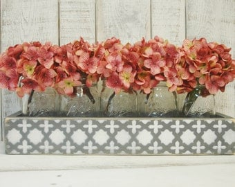 Moroccan Mason jar box , rustic decor, mason jar centerpiece, rustic table centerpiece, wooden box, home decor, wedding centerpiece