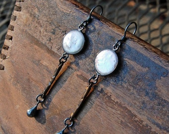 Fresh Water Pearl & Bronze Drop Earrings