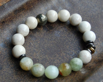 Faceted Aquamarine & Riverstone Bracelet