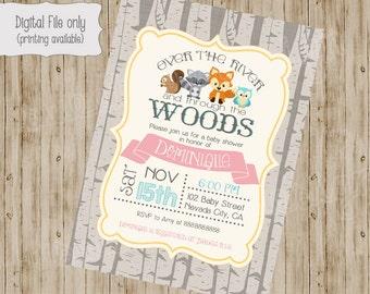 Woodland baby shower invitation, woodland fox baby, Digital, girl, boy, owl, raccoon, squirrel, Printable file gender neutral