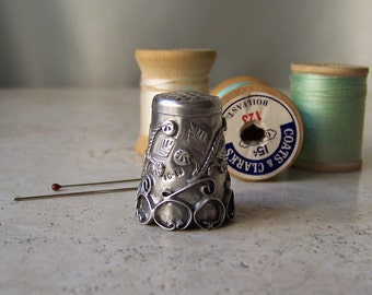 Vintage Sterling Silver Thimble Mexico 925 Signed Thimble Collector Sewing Room Size 10 Gift for Mom 1970s
