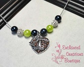 Seahawks Themed Blue and Green Pave Rhinestone Beaded Necklace, Summer Fun, Birthday Gift, Holiday Gift