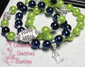 12's Set of Seahawks Themed Blue and Green Pave Rhinestone Beaded Stacking Bracelet, Summer Fun, Birthday Gift, Holiday Gift