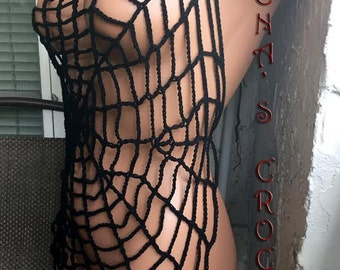 Crochet Halloween Cobweb decoration, cover up over swimsuit.