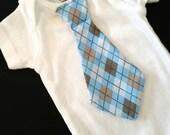 Baby boy dapper blue argyle tie onesie