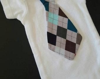Baby boy dapper argyle tie onesie