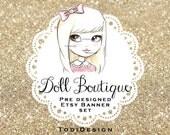 Character Illustrated Etsy Shop Banner set - Doll Boutique - Pre designed