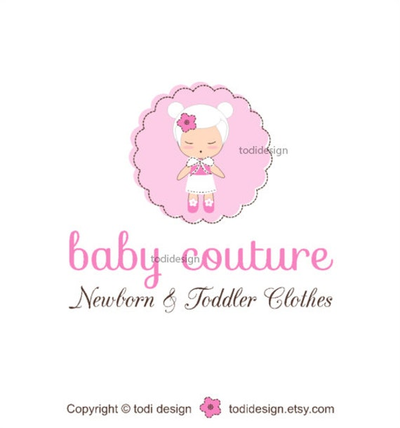 SALE Baby Couture - Character Illustrated Premade Logo design
