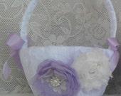 Flower Girl Basket, Lace Flower Girl Basket, Wedding Accessory, Lavender Flower Girl Basket, Bridal Accessory, YOUR CHOICE COLOR