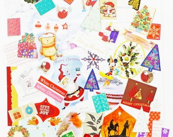 SALE Christmas Collage pack, Holidays Embellishments, Eco-friendly Christmas Ephemera, Scrap Pack, 65 pieces, Ephemera lot, craft supplies