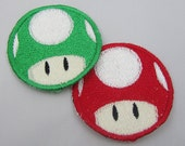 Choose 1 Video Game Mushroomi Patch Machine Embroidered Iron on OR Sew on Patch